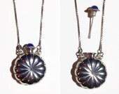 Vintage Sterling Silver Perfume Bottle Pendant Necklace W/ Blue Stone