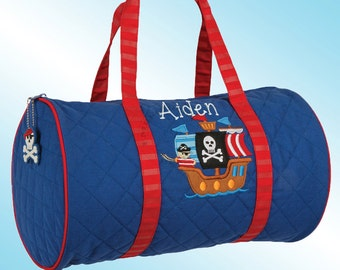 Quilted Duffle Bag - Personalized and Embroidered - PIRATE