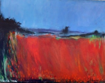 Large Abstract Painting of Red Landscape