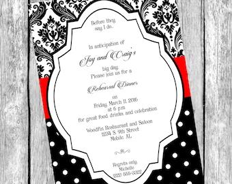 Rehearsal Dinner Invitation, Black and White Invitation, Damask Black White and Red Invitation, Printable Digital File