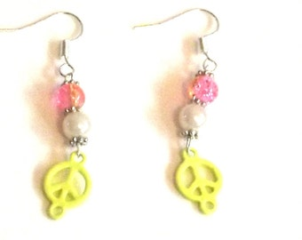 Handmade Yellow, pink and white Peace Earrings, Peace earrings - Unique