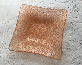 Fused Glass Pebble Dish, Copper Cobblestone Organic Glass Dish, Decorative Trinket Tray