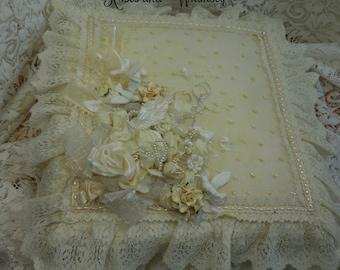 Wedding Album, Ivory, Hm flowers, keepsake, pearls, ruffles, pictures, anniversary, handmade, memory book