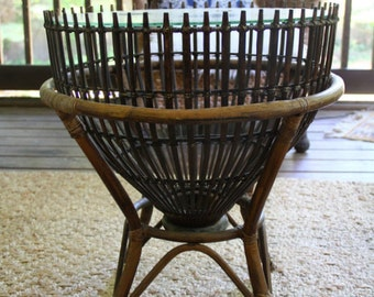 Vintage Franco Albini Drum Table Rattan Bamboo Side Table Mid Century Boho Decor Fish Trap Basket Glass Top