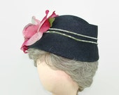 Vintage Navy Blue Woven Straw Hat with Pink Silk Cabbage Rose, Flowal Blue Cloche, 1940s Straw Bucket Hat