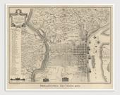 Old Philadelphia Map Art Print 1775/1875 Antique Map Archival Reproduction