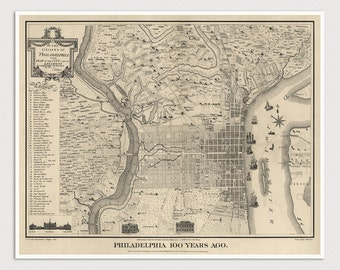 Old Philadelphia Map Art Print 1775/1875 Antique Map Archival Reproduction