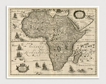 Old Africa Map Art Print 1640 Antique Map Archival Reproduction