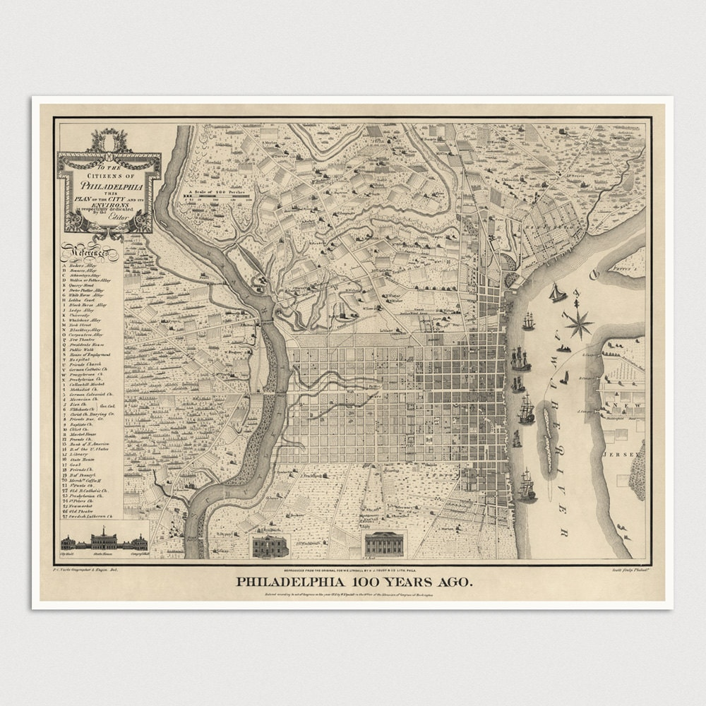 Old Philadelphia Map Art Print 17751875 Antique Map Archival