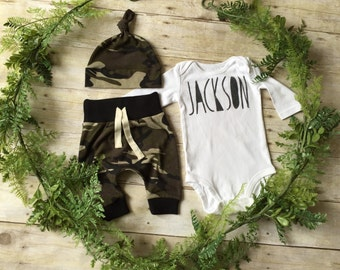 Custom Name Newborn Boy Take Home Outfit / Custom Newborn Boy Coming Home Outfit / Newborn Camo Outfit / Camo Clothing Set // Preemie Boy //
