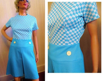 Vintage 60s Mod Dress, Blue and White, Checks and Polka Dots, A Line Skirt, Inverted Front Pleat, Short Sleeves, Polyester Dress, Carnaby