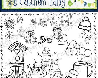Winter Time Clipart Black & White