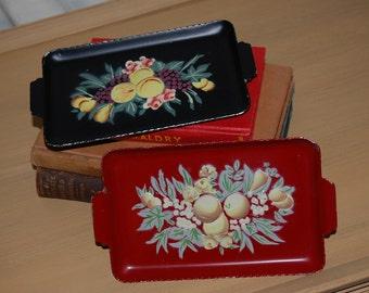 Vintage, tin, metal, trays, set of 2, fruit, flower, pressed,