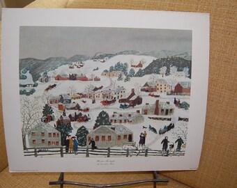 Vintage  art,  wall, art, Grandma Moses, Winter, Twilight, 1951