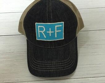 Monogram Distress Rodan & Fields Hat, R+F Trucker Hat, Monogram Trucker Hat, Monogram Cap, Monogram Baseball Cap