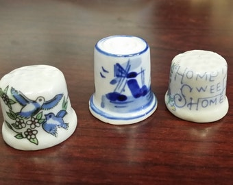 Three Porcelain Collectible Thimbles