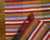 Nicaraguan Handcrafted Rag Rug in Amber, Shale, Burgundy, Orange Red, and White