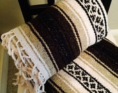 Mexican Serape / Vintage Mexican Handmade Throw Soft Acrylic Blend Black, Brown, Taupe and White Serape Throw