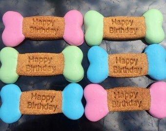 Gourmet Dog Treats - Small Birthday Bones Decorated Dog Treats