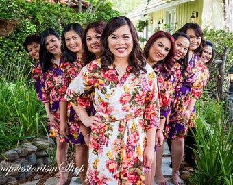 Set of 9, Bridesmaid robes Knee Length, kimono dress , robes  voile, bridesmaid gift ideas, maid of honor, Matching floral getting ready