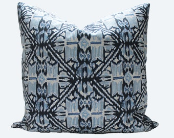 Decorative Designer Lacefield Ikat Wedgewood Pillow Cover, 18x18, 20x20, 22x22 Throw Pillow