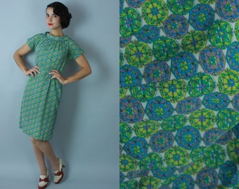 1950s Kaleidoscope dress | vintage 50s green print dress | extra small