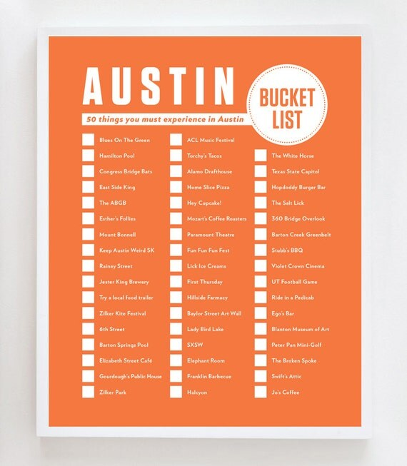 Austin Bucket List Wall Art Print