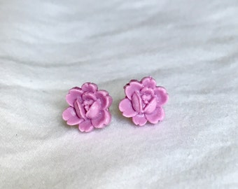 Light Purple Flower Earrings // Purple Rose Earrings // Purple Stud Earrings // Flower Post Earrings // Rose Stud Earrings // Purple Roses