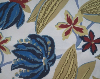 OUTDOOR Pillow Cover in a Blue Floral Print / Cream Blue Beige Red Pillow Cover
