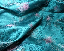 Chinese satin brocade - 1 yd. elegant teal, silver grey and pink brocade with an oriental floral pattern, chrysanthemum fabric, good fortune