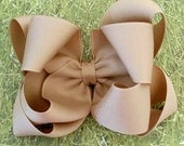 Tan Hair Bow...Uniform Hair Bow...Double boutique Bow...Tan Bow...School Hair Bow...School Bow...Toddler Bow...Girls Bow..Hair Bows