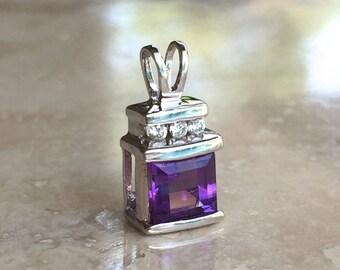 Beautiful 14k White Gold Princess Cut Amethyst and Diamond Pendant