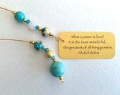 Bookmark wedding favour   Turquoise stone beaded bookmark