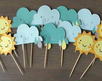 Sunshine and Rainclouds Party  Weather Party Treat Toppers  Baby shower