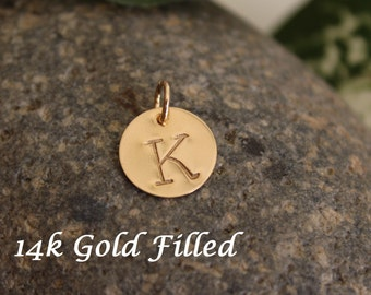 "Gold Filled initial charm, add on charm, personalized hand stamped initial charm - 1/2"" (12.7mm)"