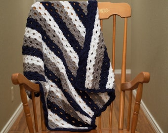 Striped Crochet Baby Blanket in Navy Blue, Grey, and White