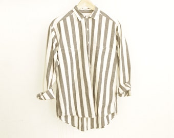 vintage STRIPED cotton faded GREY/BLACK & white soft worn in button up down shirt blouse oxford top