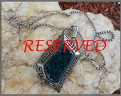 "RESERVED EBENEZER Will Denetdale Award Winning Navajo Artist RARE tight ""Black Webbed Number 8 Mine"" Trapezoid Turquoise Pendant Necklace"