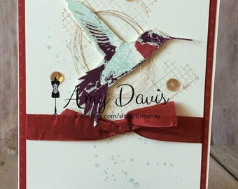 Hummingbird Copper and Sequins - Handmade Card