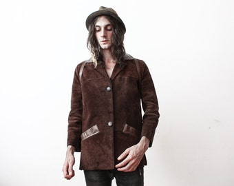 Vintage 1960s Brown Suede Jacket Boho Hippie Casual Leather Jacket Slim Fit Aged Old