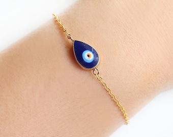 Blue evil eye bracelet, protection jewelry, evil eye jewelry, blue evil eye, dainty bracelet, teardrop, mother gift, best friend gift