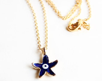 Starfish necklace, starfish jewelry, gold starfish, evil eye necklace, gold chain, best friend gift, mother gift, navy blue starfish
