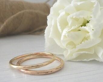 Rose Gold Wedding Ring - Hammered or Smooth - 9ct Rose Gold