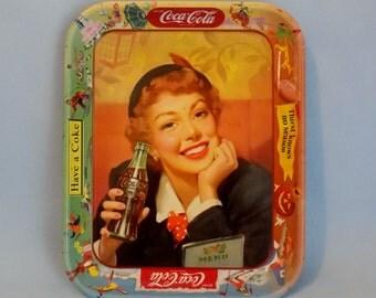 1950 COCA-COLA Menu Girl Tray * Authentic Collectible Coca-Cola Tray * COKE Memorabilia