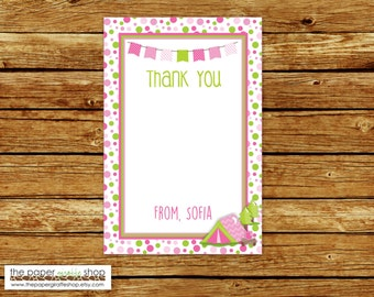 Camping Thank You Card | Pink Camping Thank You | Glamping Thank You Card | DIY Printable
