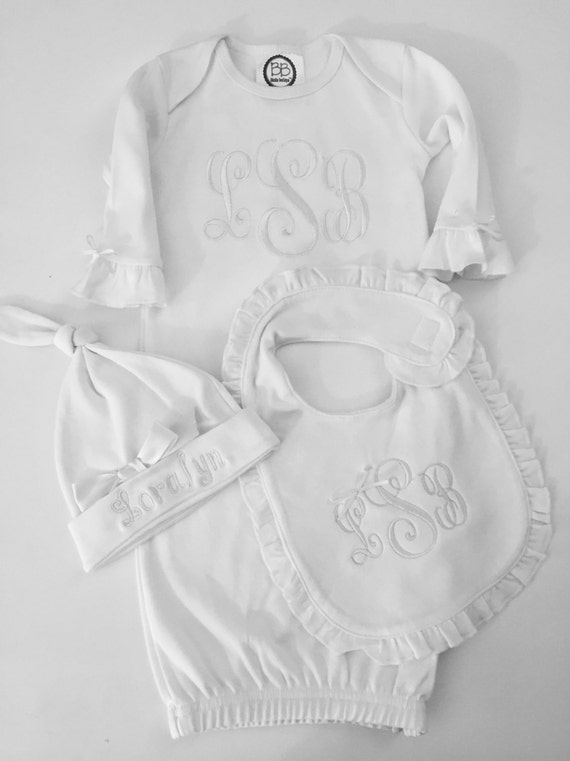 Newborn Girl Take Home Outfit MonogramLayett Gown White on