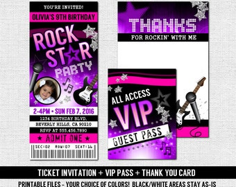 CONCERT TICKET INVITATIONS Rock Star Birthday Party + Thank You Card + Vip Backstage Badge Pass (print your own) Printable Files