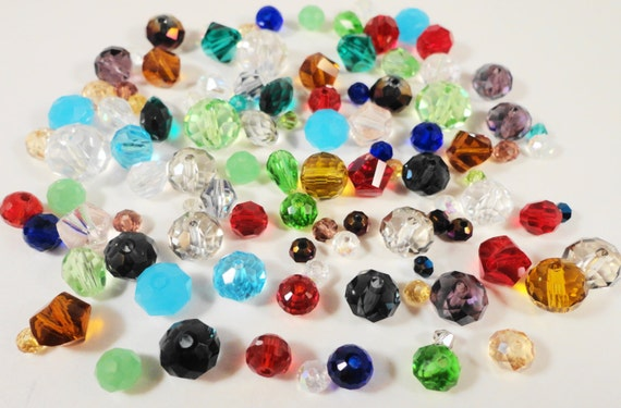 Assorted Crystal Beads 3-10mm Multi Color Chinese Crystal Glass Destash Beads Mixed Crystal Beads Rondelle Bicone Helix Teardrop 1oz 100pc
