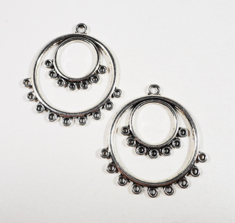 Hoop Earring Connectors 36x34mm Antique Silver Chandelier Earring ...