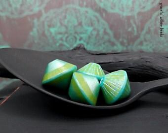 Handmade Polymer Bicone Bead Set - Teal Green Turquoise Pearl - Bohemian Bicone Bead Set - 13mm - Pkg. 4